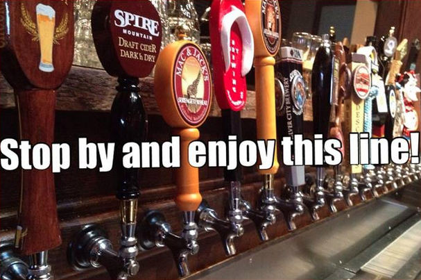 28 tap handles at the Mint restaurant in Enumclaw