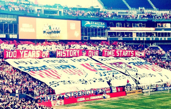 Tifo at CenturyLink Field before Seattle's crowd fueled the USMNT to 2-0 World Cup Qualifying win over Panama.