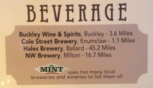 local beverage purveyors supported by the mint restaurant
