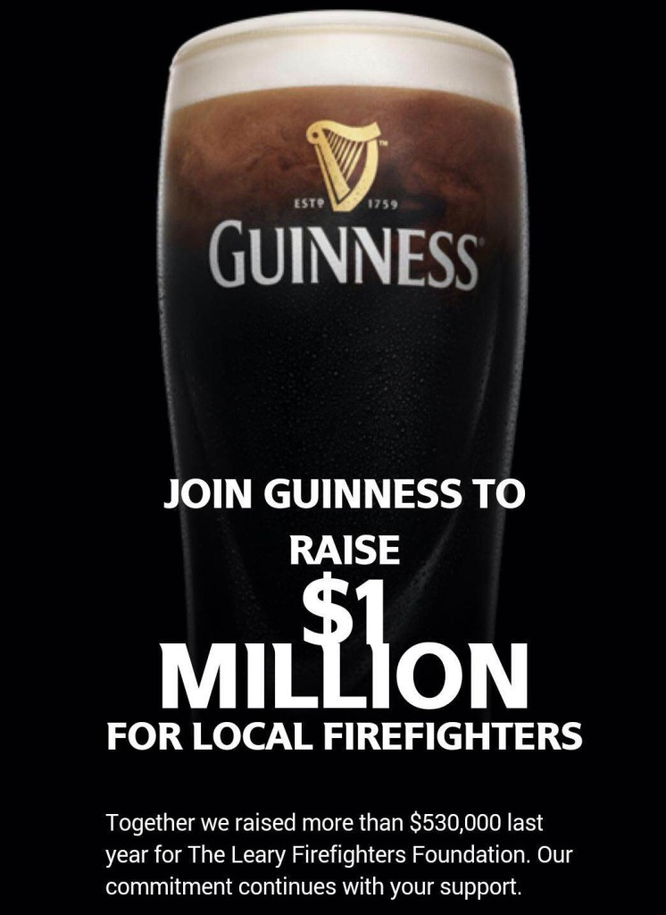 Join Guinness to raise $1 million for local firefighters.