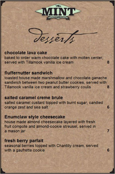 The Historic Mint Dessert Menu Summer 2015